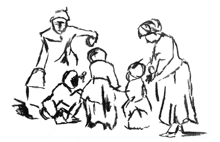 © Suzanne Day 2016 / Sketch of Rembrandt van Rijn's 'A Child Being Taught To Walk'