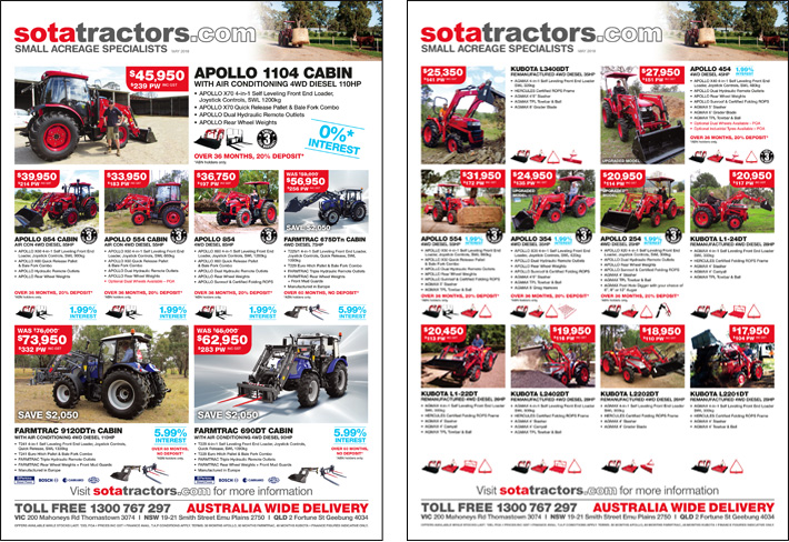 © Suzanne Day 2018 / Sota Tractors / Monthly Flyers