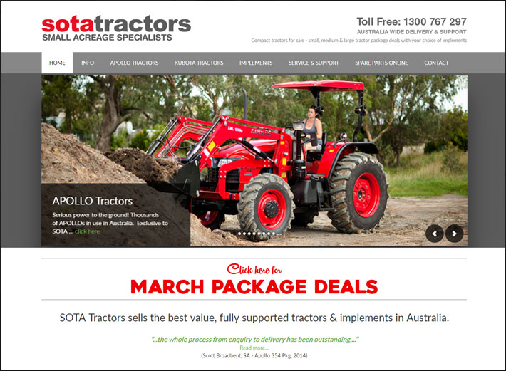 © Suzanne Day 2016 / Sota Tractors / Website Redesign